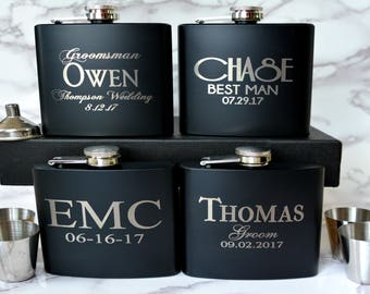 Set of 6, Groomsmen Gift, Flask Gift Set, Personalized Flask, Custom Flask, Groomsmen Flask, Wedding Party Gift, Best Man Flask, Groomsman