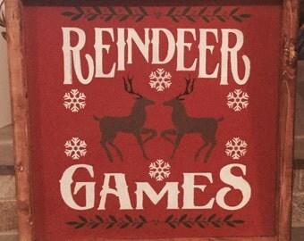 Reindeer Games custom Christmas wood sign