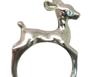 14k Aquamarine  Deer Ring, FREE SIZING