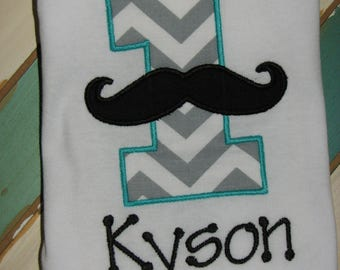 First Birthday Mustache Shirt. Personalized Birthday Shirt. 1st Birthday Top. Mustache 004