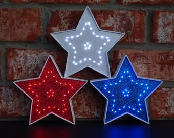 4th of July Red White & Blue Lighted Decorative Stars - 5.5 Inch - Battery Operated