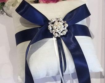 Navy Ring Pillow, Ivory Ring Pillow, Wedding Ring Pillow, Ring Bearer Pillow, Ring Cushion, Silk Ring Pillow, Elegant Ring Pillow