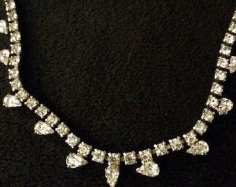 Vintage Signed Rhinestone Necklace/ Choker