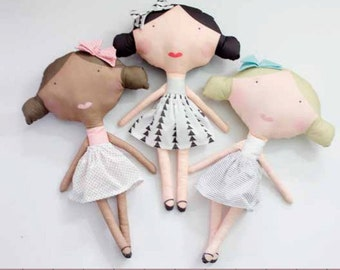 """SEE KATE SEW by Riley Blake designs """"Olive and Oliver"""" printed doll and icrecream panel"""