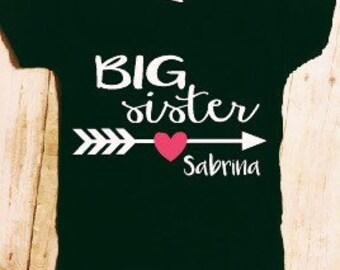 Big sister shirt, sibling shirts, matching shirts, birth announcement, pregnancy announcement