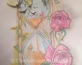 A print only of this hand drawn pencil unique and beautiful hourglass and flower piece by me