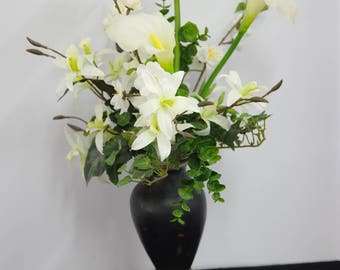 Silk Arrangement of White Calla Lilies and Orchids in Brown Ceramic Vase