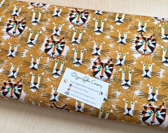 Lions and Tigers - Happy Drawing - Cloud9 Fabrics - Organic Cotton Poplin by the Yard