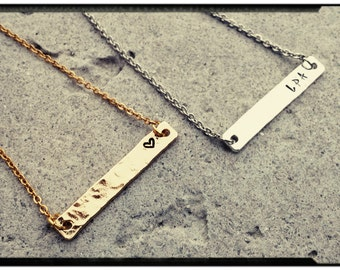 Textured Silver/Gold Bar Necklace/Bracelet - Personalized//Stamped Name//Initials//Numbers//Phrase - Bridesmaid/Mom/Sister/Wife - Customize