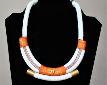 "Rope braided white/orange ""Malika"" necklace"