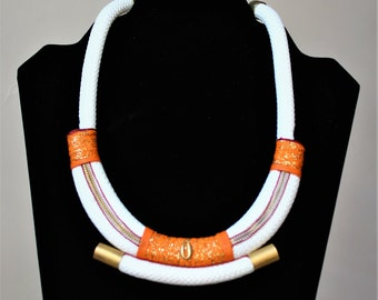 "Braided rope white/orange ""Malika"" necklace"