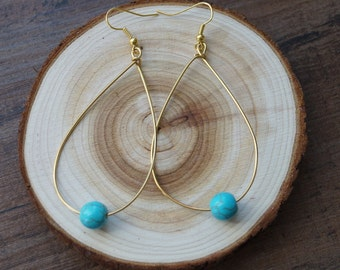 Turquoise Teardrop Hoop Dangle Earrings