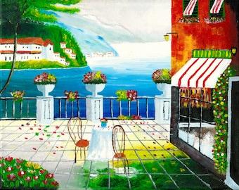 Cafe in Taormina, Sicily - Acrylic Painting of Italy