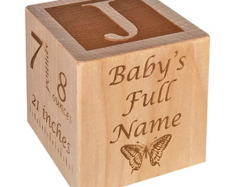 Custom Baby Block, Custom New Baby Gift, Custom Newborn Baby Gift, Personalized Baby Gift, Custom Wooden Baby Block, Custom Twin Gift