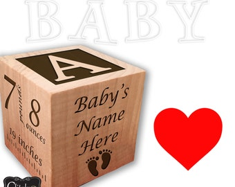 YOUR Baby's Handprint and Footprint Engraved, Personalized Baby Block, New Baby Keepsake Block, Newborn Keepsake