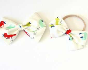 Little Bird Bow, toddler, baby girl, fabric bow, nylon headband or clip, White, Red