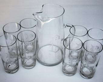 Vintage Etched Pitcher and Glass Set Monogrammed with the letter C