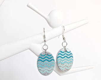 Blue Turquoise and Silver Earrings, Dangle Bridal Earrings, Sea Waves Pattern, Gift For Her, Boho Jewelry, Small Earrings, Birthday Gift