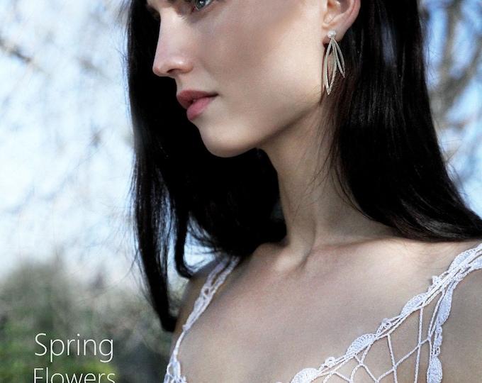 Spring Flower Earrings/ Two Leafs