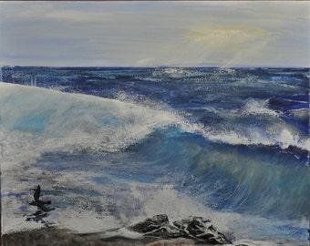 Morning Crashing Waves, Beautiful Seascape Ocean Original Acrylic Painting
