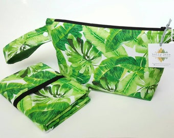 Diaper clutch, diaper changing pad, small diaper bag, travel changing pad, diapers and wipes case, nappy wallet, palm leaf, greenery