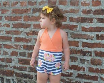 girls romper, girls dress, tie back, open back, floral, stripes