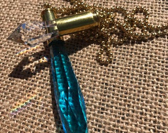 Aqua double crystal bullet necklace
