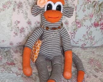 Sock Monkey,Orange and Cream Sock Monkey, Stuffed Animal, Designer Sock Monkey