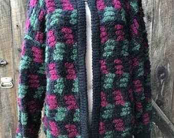 Black grunge sweater, long cardigan sweater, hipster sweater, grunge cardigan, pink sweater, oversized slouchy sweater, textured, unisex