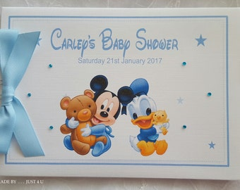 Personalised DISNEY MICKEY MOUSE / Donald Duck / Baby Shower / Birthday / Guest Book/ Memory Scrapbook Album