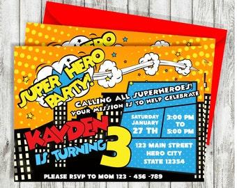 Superhero Invitation, Superhero Birthday Invitation, Super Hero Invitation, Comic Invitation, Superhero Party, Party Printable