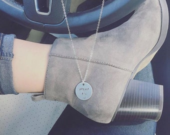 """Custom 1"""" Circle Hand Stamped Necklace, Hand Stamped Jewelry, Personalized Necklace, Engraved Necklace, Layered Necklace, Charm Necklace"""
