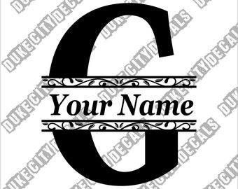 Letter G Initial Monogram Family Name Vinyl Decal Sticker - Personalized Floral Name Decal