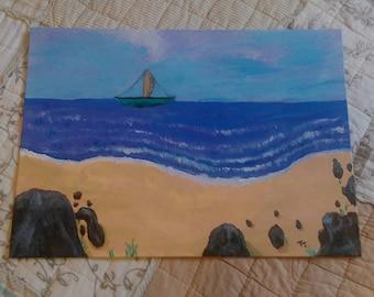 The Oceanside - Acrylic Painting, Vibrant Colours - Canvas Board, 14 x 10 inches approx