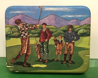 Golf Tin Box, Small Hinged Tin Box for Golfers