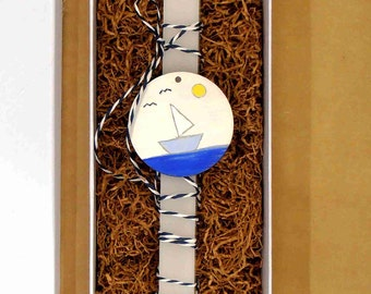 Gift for godson etsy easter candle hand painted wooden ornament little boat greek easter gift gift negle Images