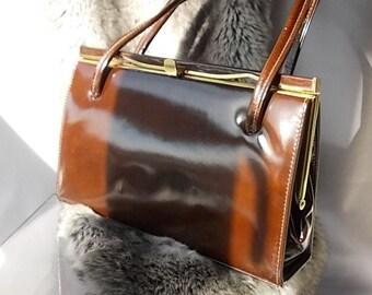 Chocolate Brown Patent Handbag, Kelly Style Bag, Elbief Frame, Suede Interior Van Dal English Bag, Twin Handles, 1950 Superb Vintage Handbag
