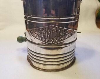 5 Cup Flour Sifter Green Wood Handle Vintage 1940's Farm Kitchen Vintage Kitchen Country Kitchen Decor