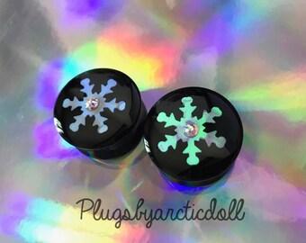 Pair of plugs 24mm snowflakes and swarovski crystal
