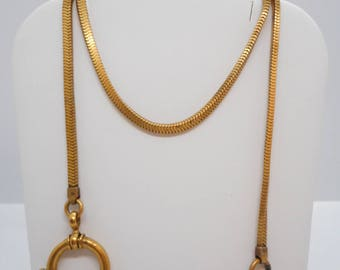 Antique Victorian Gold Filled Pocket Watch Chain Fob with Larger Clip NICE!