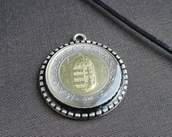 Hungary Jewelry, Numismatist Coin,  Money, Hungary Forint, Neck adornment, Magyar, Handcrafted Jewelry, Resin, Pendant, Coin jewelry