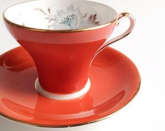 Orange Aynsley tea cup, Orange tea cup, Vintage teacup, Bone China teacup,  Teacup and saucer