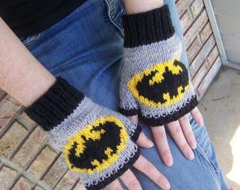 Batman Hand Knit Fingerless Gloves