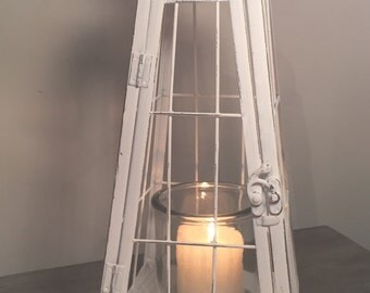 Vintage style white coastal lantern, candle holder, wedding decor, shabby chic, white lantern