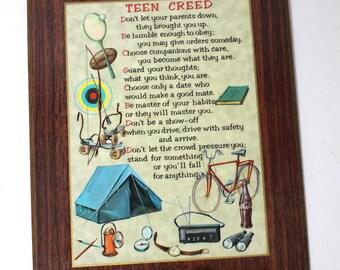 Vintage Teen Creed Masonite Plaque