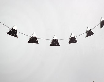 Black mountain garland, mountain banner, mountain nursery decor, mountain bunting, mountain room decor, modern nursery, monochrome nursery