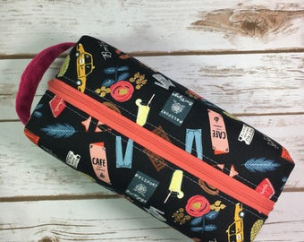 Box pouch, Rifle Paper Co fabric, Bon Voyage fabric, travel bag, traveller gift, makeup bag, cosmetic bag, toiletry kit, bridesmaid gift