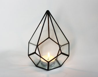 Geometric Holiday Decor / Christmas Table Decor / Gifts For Her / Stained Glass / Geometric Glass Terrarium