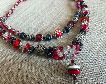 Red glass beaded necklace Czech glass bead necklace red statement necklace Long red necklace Red crystal necklace Red jewelry Gift for her