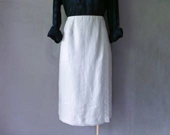 Vintage 100% linen pencil/midi/secretary skirt women's size M/L